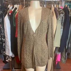 •DKNY• Brown Olive Knitted Cardigan